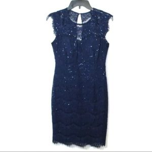 Kensie blue sequined lace sheath dress cocktail